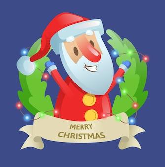 Weihnachtsfeiertürkranz mit weihnachtsmann und girlande. die besten wünsche. bunte flache vektorillustration. isoliert
