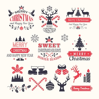 Weihnachtsferien etiketten. weinlesewinterausweise und -logos mit verschiedenen elementen des neuen jahres des schnees und platz für ihren text