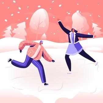 Weihnachtsferien freizeitvergnügen. glückliche menschen, die freizeitaktivitäten im freien im winter park durchführen. karikatur flache illustration