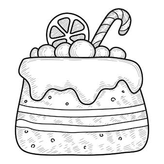 Weihnachtsferien sahnetorte symbol. handgezeichnete und skizzenhafte illustration der weihnachtsfeiertags-sahnekuchen-vektorikone für webdesign