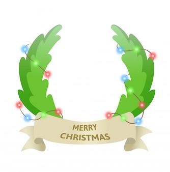 Weihnachtsferien-türkranz mit girlande. die besten wünsche. bunte illustration. auf weißem hintergrund.