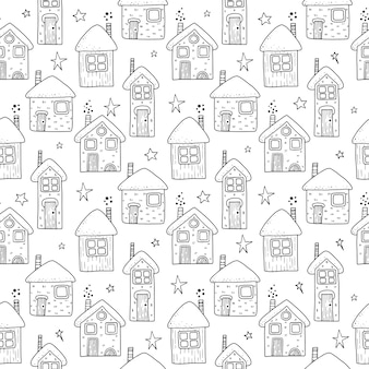 Weihnachtsferienhäuser nahtloses muster. handzeichnung illustration.