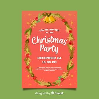 Weihnachtsfest-hand gezeichnete kranz-plakatschablone