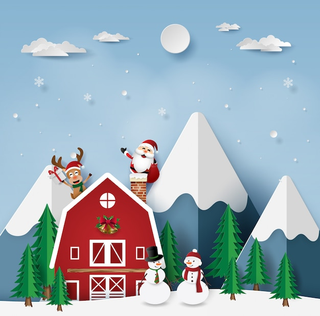 Weihnachtsfest mit santa claus am roten haus