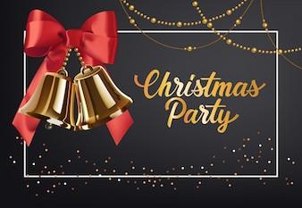 Weihnachtsfest-Plakatgestaltung. Goldschellen mit roter Schleife