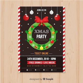 Weihnachtsfest-weihnachtskranz-plakatschablone