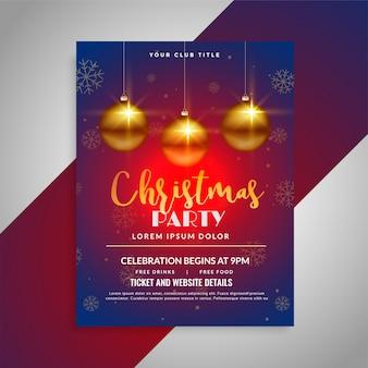 Weihnachtsfestival glänzend Flyer Designvorlage