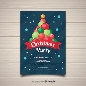 Weihnachtsfestkugeln baum flyer vorlage