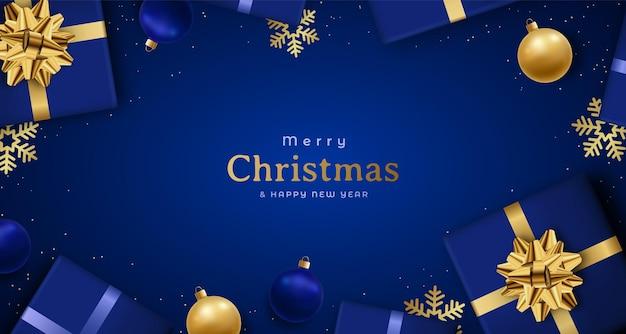 Weihnachtsfestliche komposition auf dunkelblauem hintergrund