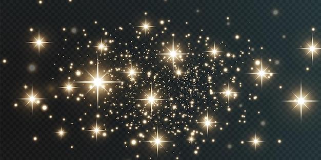 Weihnachtsfestlicher hintergrund aus hellem konfetti und kleinem glänzendem goldlicht glitzernde goldstruktur