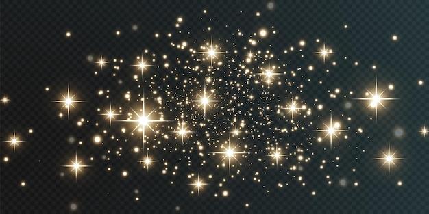 Weihnachtsfestlicher hintergrund aus hellem konfetti und kleinen leuchtenden goldlichtern