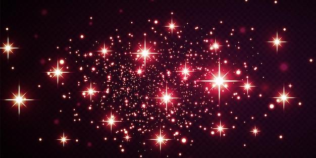 Weihnachtsfestlicher hintergrund aus hellem konfetti und kleinen leuchtenden roten lichtern