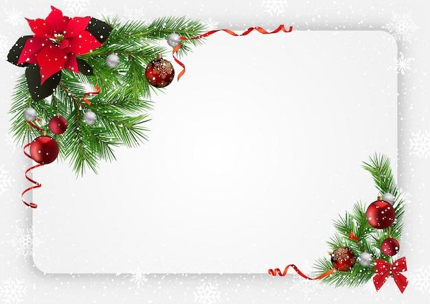 Weihnachtsfestlicher hintergrund mit dekorationen
