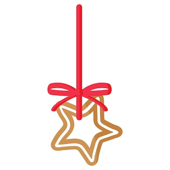 Weihnachtsfestlicher sternlebkuchenplätzchen bedeckt von der weißen zuckerglasur mit rotem band. frohe weihnachten und ein glückliches neues jahr-konzept.
