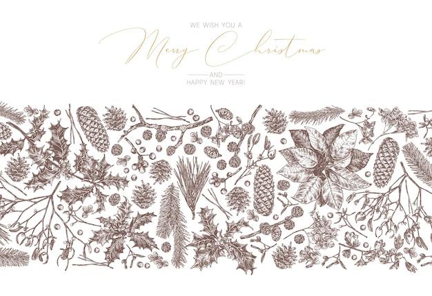 Weihnachtsfestlicher weinlesehintergrund mit linearem randrahmen mit blumen und evegreen pflanzen