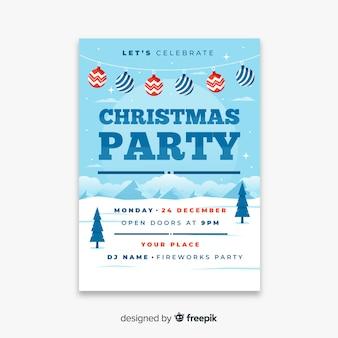 Weihnachtsfestplakat im flachen design