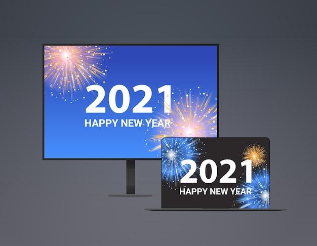Weihnachtsfeuerwerk auf computermonitor und laptop-bildschirmen frohes neues jahr feiertagsfeier konzept vektor-illustration