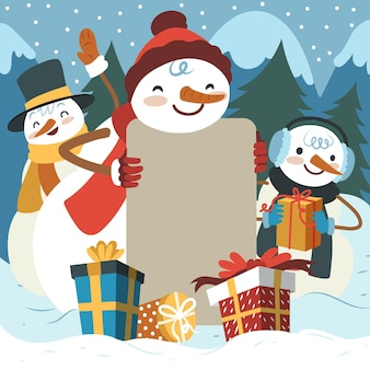 Weihnachtsfigur mit leerem banner Premium Vektoren