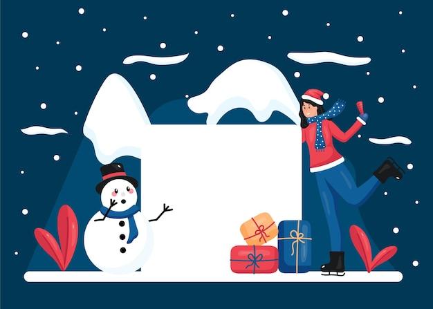 Weihnachtsfigur mit leerem banner