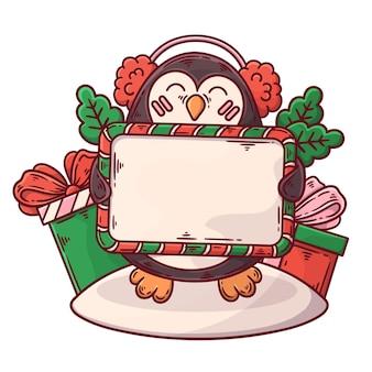 Weihnachtsfigur mit leerem banner Kostenlosen Vektoren