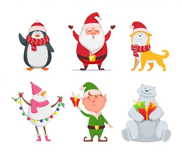 Weihnachtsfiguren im cartoon-stil. weihnachtsmann, gelber hund, elf. pinguin und schneemann. feiertags-niedlicher bär und weihnachtsmann. vektor-illustration