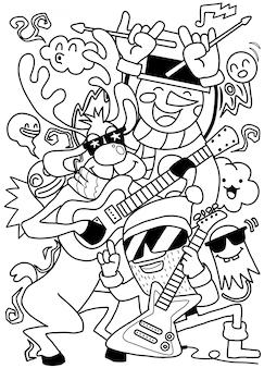 Weihnachtsfiguren mit musikinstrumenten gesetzt