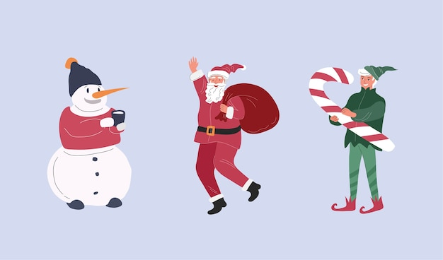 Weihnachtsfiguren mit weihnachtsmann, elf und schneemann. karikaturillustration