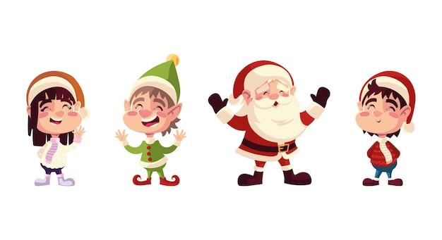 Weihnachtsfiguren santa helfer jungen und mädchen mit hüten illustration