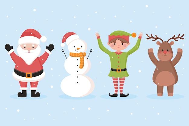 Weihnachtsfiguren-zeichensammlung im flachen design