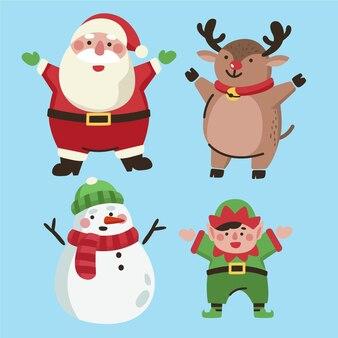 Weihnachtsfigurenkollektion im flachen design