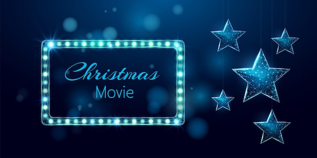 Weihnachtsfilmnachtbanner. wireframe-sterne und leichte werbetafel, low-poly-stil.