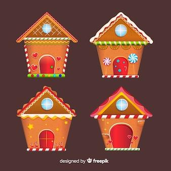 Weihnachtsflach lebkuchenhaus pack