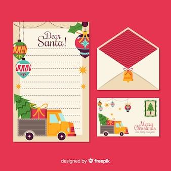 Weihnachtsflache briefpapierschablone