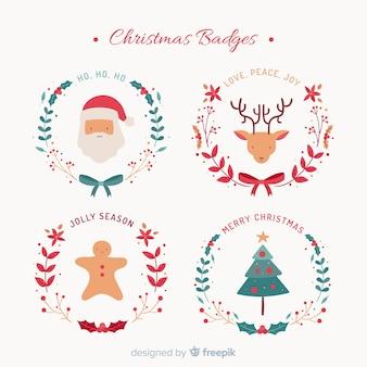 Weihnachtsflache charaktere abzeichen sammlung