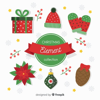 Weihnachtsflache elementsammlung