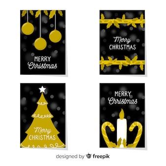 Weihnachtsflache goldene kartensammlung