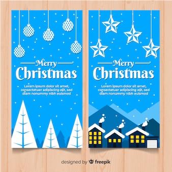 Weihnachtsflache hängende dekorationsfahne