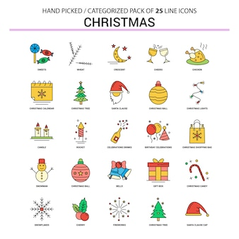 Weihnachtsflache linie icon set