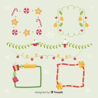 Weihnachtsflache ränder sammlung