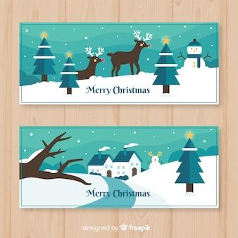 Weihnachtsflache szenenfahne