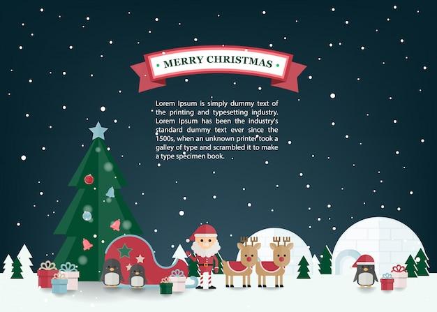Weihnachtsflacher vektor mit santa claus, renpferdeschlitten im winterdorf. weihnachtsgrußkarte.