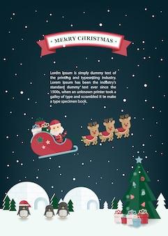 Weihnachtsflacher weihnachtsmann, renpferdeschlitten im winterdorf. weihnachtsgrußkarte.