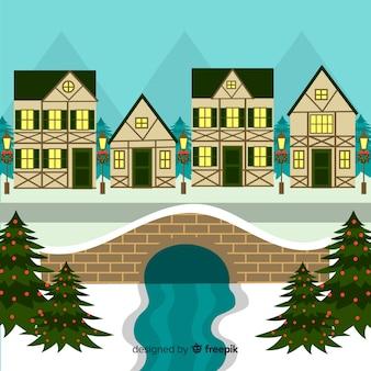 Weihnachtsfluss-stadtillustration