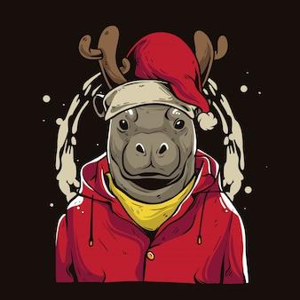 Weihnachtsflusspferd cartoon Premium Vektoren