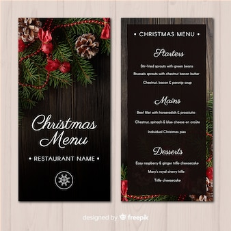 Weihnachtsfoto-menü-vorlage
