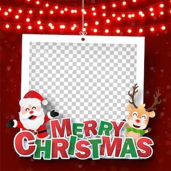 Weihnachtsfotorahmen mit weihnachtsmann und rentier