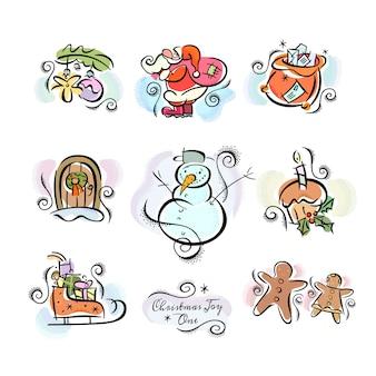 Weihnachtsfreude clip art sticker illustrationen