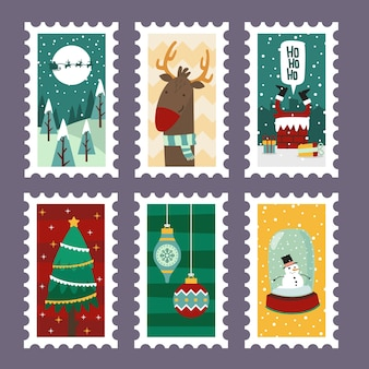 Weihnachtsfreundliche stempel mit feiertagssymbolen im flachen design