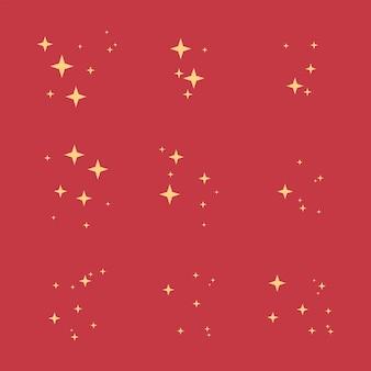 Weihnachtsfunkelnder sternvektorsatz lokalisiert auf hintergrund.