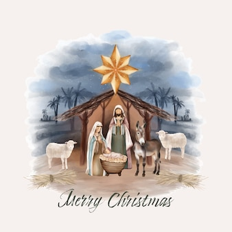 Weihnachtsgeburt von jesus in der scheune
